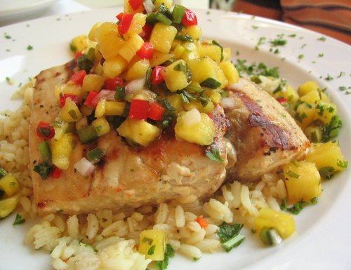 Mad Batter - grilled halibut with mango-salsa and long grain rice